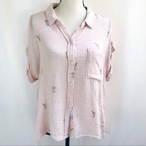 • Rails • Hula Girl Pink Short Sleeve Blouse